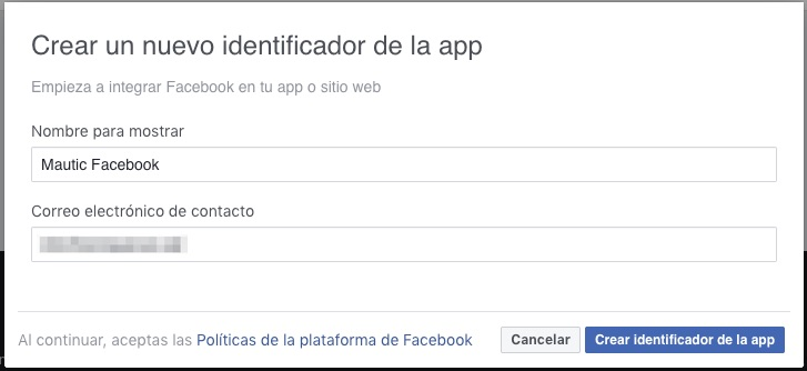 Crear APP Facebook Mautic