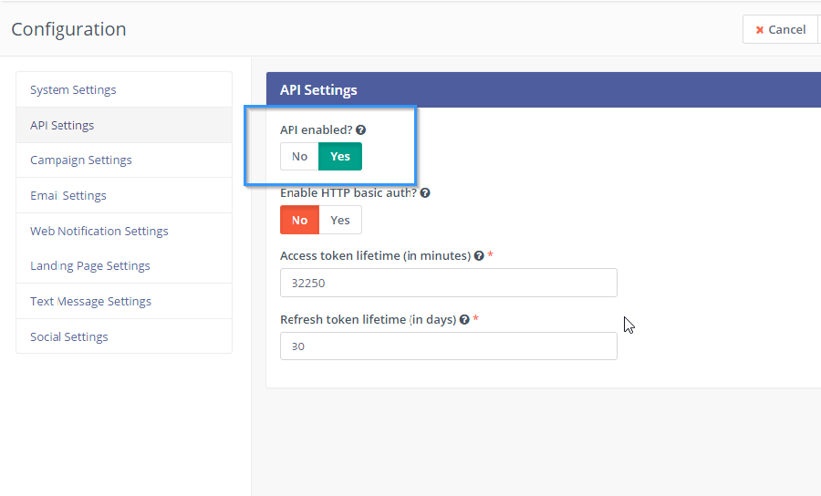 Mautic habilitar API